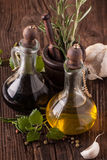 Olive Oil And Vinegar With Herbs Royalty Free Stock Photography