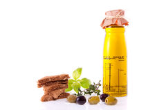 Olive-oil with appetizers Stock Photo