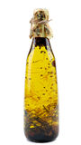 Olive Oil avec Rosemary, safran et coriandre Photo stock