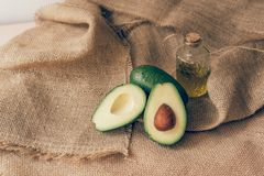 Olive oil and avocado for keto diet royalty free stock photo