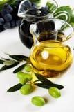 Olive oil and balsamic vinegar. On white background stock images