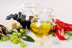 Olive oil and balsamic vinegar Royalty Free Stock Photography