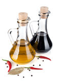 Olive oil and balsamic vinegar Royalty Free Stock Photo