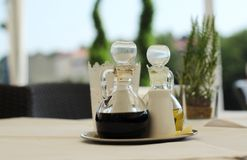 Olive oil and balsamic vinegar. Mediterranean spices Royalty Free Stock Images