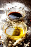 Olive oil and balsamic vinegar from modena italy Royalty Free Stock Image