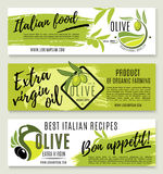 Olive oil banner template set with green branch stock illustration