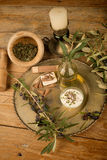 Olive oil based lotions. Natural moisturizing body lotion based on olive oil Stock Photography