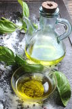 Olive oil and basil mediterranean culinary cook Stock Photo