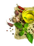 Olive oil , basil and spices Stock Photography
