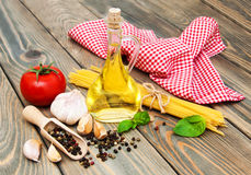 Olive oil,  basil, tomato and garlic Stock Photo