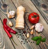 Olive oil,  basil, tomato and garlic Royalty Free Stock Images