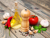 Olive oil,  basil, tomato and garlic Royalty Free Stock Photos