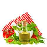 Olive oil with basil and tomatoes. italian food ingredients Stock Photography
