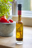 Olive oil, basil and tomatos Royalty Free Stock Photos