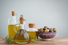 Olive oil and berries Stock Photo