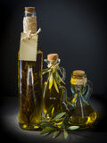 Olive oil on a black background Royalty Free Stock Photo