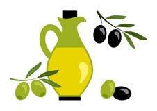 Olive oil with black and green olives. Vector. Illustration royalty free illustration
