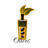 Olive oil bottle with black olives vector icon Stock Images