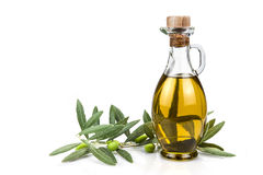 Olive oil bottle isolated on a white background. Stock Photos