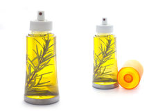 Olive Oil in Bottle with Leaves isolated on white Stock Photos