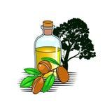 Olive Oil Bottle med trädet vektor illustrationer