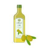 Olive oil, bottle of natural oil, branch with olives. Vector Royalty Free Stock Photography
