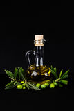 Olive oil bottle and olive branch. Stock Photos