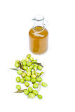 Olive oil bottle with olives royalty free stock image