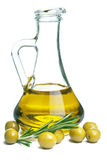 Olive oil in bottle and olives  Royalty Free Stock Photo