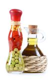 Olive oil in a bottle  on white background Stock Image