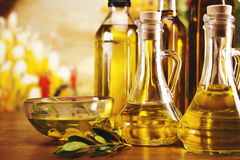 Olive oil bottles closeup Stock Photo