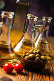 Olive oil in bottles Stock Photography