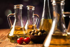 Olive oil in bottles Royalty Free Stock Photo