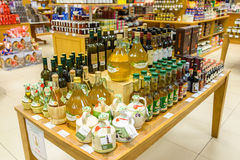 Olive oil bottles at Jenners department store in Edinburgh, Scot Stock Image