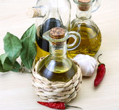 Olive oil in the bottles Stock Photo
