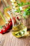 Olive oil bottles, Mediterranean rural theme Stock Images