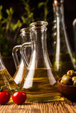 Olive oil in bottles Royalty Free Stock Photography