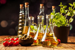 Olive oil in bottles Royalty Free Stock Image