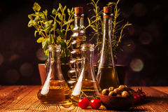 Olive oil in bottles Royalty Free Stock Photos