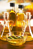 Olive oil bottles and olive tree Royalty Free Stock Images