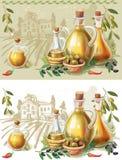 Olive Oil. Bottles with Olive oil and rural landscape stock illustration