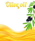 Olive oil and branches with olives background Royalty Free Stock Photography