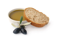 Olive oil and bread Royalty Free Stock Photos