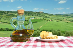 Olive oil and bread Royalty Free Stock Photography