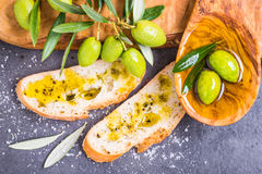 Olive oil and bread copy space. Stock Images