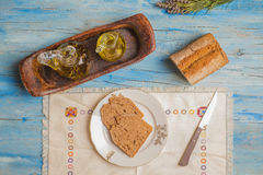 Olive oil and bread, mediterranean diet Royalty Free Stock Photos