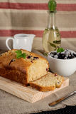 Olive oil cake with yoghurt and black currants. Olive oil cake with yoghurt, black currants stock photos