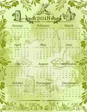 Vector olives olive oil calendar 2018 template. Olive oil calendar 2018 poster template of green olives and organic cooking oil, leaf branches or bottle and royalty free illustration