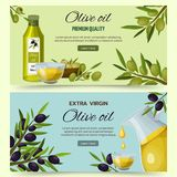 Olive Oil Cartoon Banners Set Fotografia de Stock