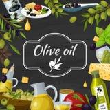 Olive Oil Cartoon Blackboard Composition Stockfoto